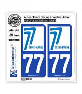 77 Seine-et-Marne - Département | Autocollant plaque immatriculation