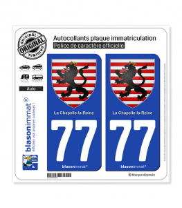 77 La Chapelle-la-Reine - Armoiries | Autocollant plaque immatriculation