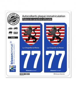 77 La Chapelle-la-Reine - Armoiries | Autocollant plaque immatriculation