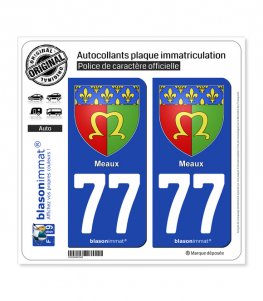 77 Meaux - Armoiries | Autocollant plaque immatriculation