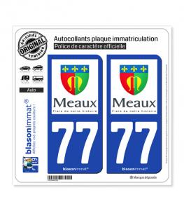 77 Meaux - Ville | Autocollant plaque immatriculation