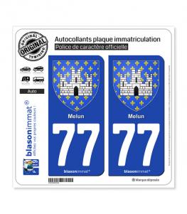 77 Melun - Armoiries | Autocollant plaque immatriculation