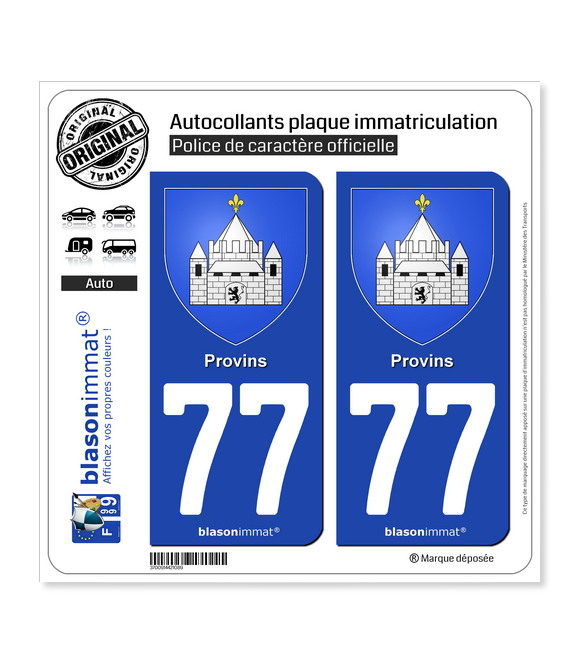 77 Provins - Armoiries | Autocollant plaque immatriculation