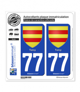 77 Torcy - Armoiries | Autocollant plaque immatriculation