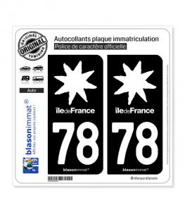 78 Ile-de-France- LogoType Black | Autocollant plaque immatriculation