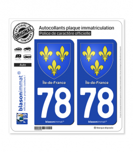 78 Ile-de-France - Armoiries | Autocollant plaque immatriculation