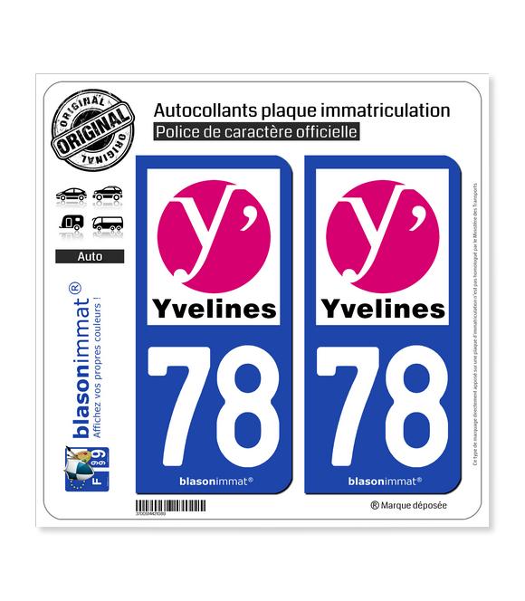 78 Yvelines - Département | Autocollant plaque immatriculation