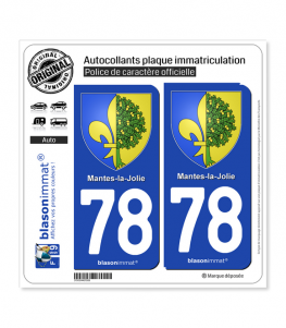 78 Mantes-la-Jolie - Armoiries | Autocollant plaque immatriculation