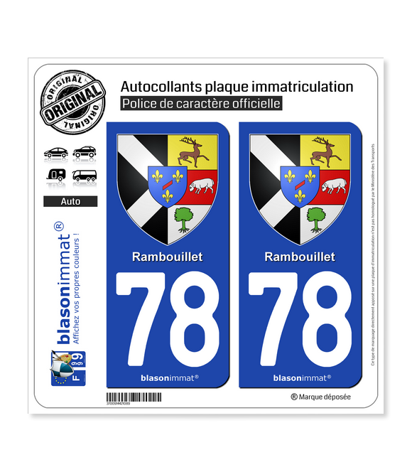 78 Rambouillet - Armoiries | Autocollant plaque immatriculation