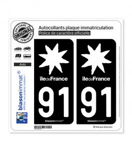 91 Ile-de-France- LogoType Black | Autocollant plaque immatriculation