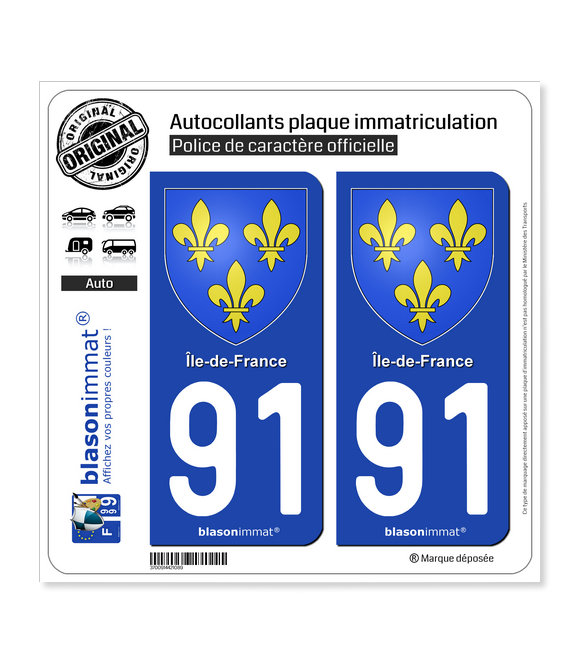 91 Ile-de-France - Armoiries | Autocollant plaque immatriculation