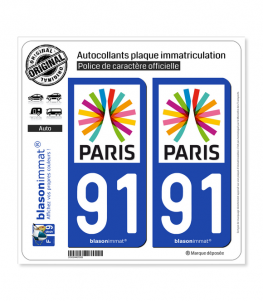 91 Ile-de-France - Paris Région | Autocollant plaque immatriculation