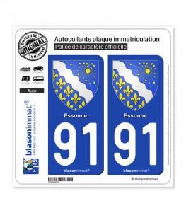 91 Essonne - Armoiries | Autocollant plaque immatriculation