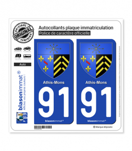 91 Athis-Mons - Armoiries | Autocollant plaque immatriculation