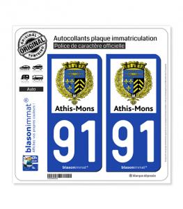 91 Athis-Mons - Commune | Autocollant plaque immatriculation