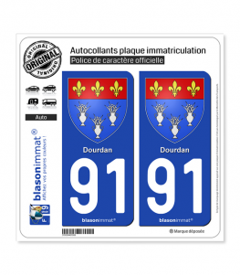 91 Dourdan - Armoiries | Autocollant plaque immatriculation