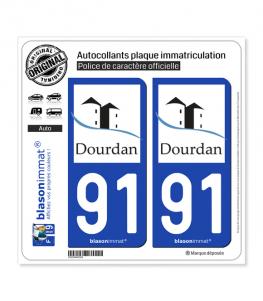 91 Dourdan - Commune | Autocollant plaque immatriculation