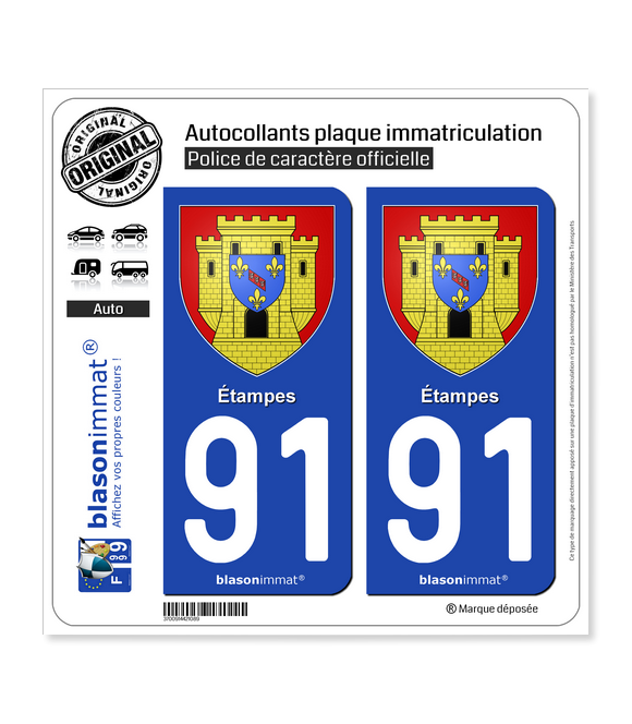 91 Étampes - Armoiries | Autocollant plaque immatriculation