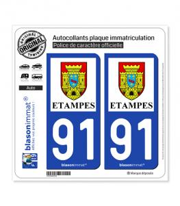 91 Étampes - Ville | Autocollant plaque immatriculation