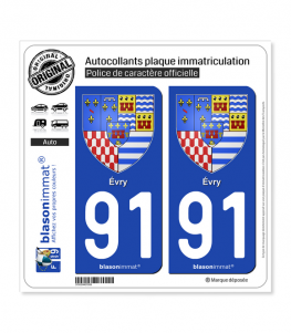 91 Évry - Armoiries | Autocollant plaque immatriculation
