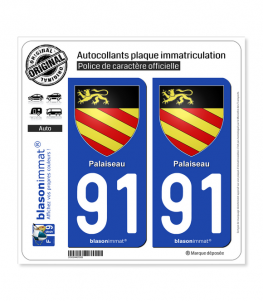 91 Palaiseau - Armoiries | Autocollant plaque immatriculation