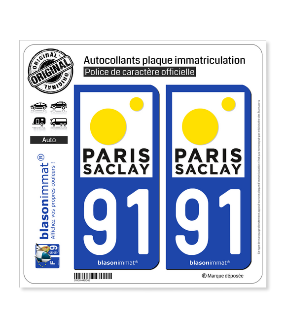 91 Palaiseau - Agglo | Autocollant plaque immatriculation