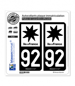 92 Ile-de-France- LogoType N&B | Autocollant plaque immatriculation