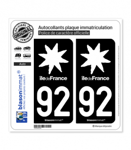 92 Ile-de-France- LogoType Black | Autocollant plaque immatriculation
