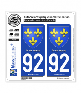 92 Ile-de-France - Armoiries | Autocollant plaque immatriculation