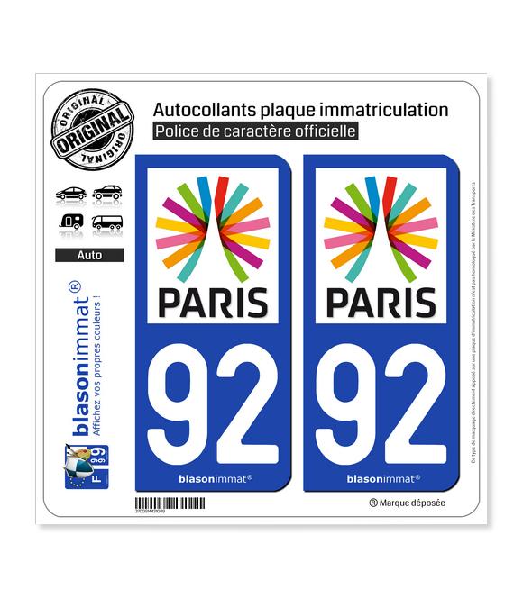 92 Ile-de-France - Paris Région | Autocollant plaque immatriculation