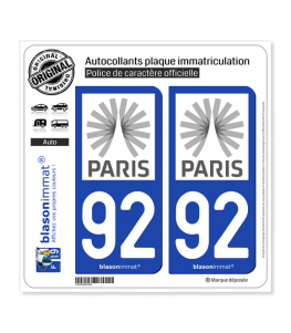 92 Ile-de-France - Tourisme | Autocollant plaque immatriculation
