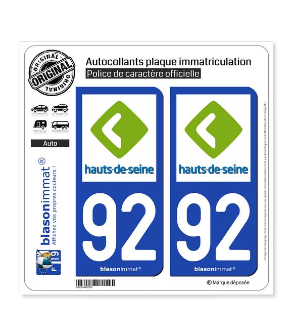 92 Hauts-de-Seine - Département | Autocollant plaque immatriculation