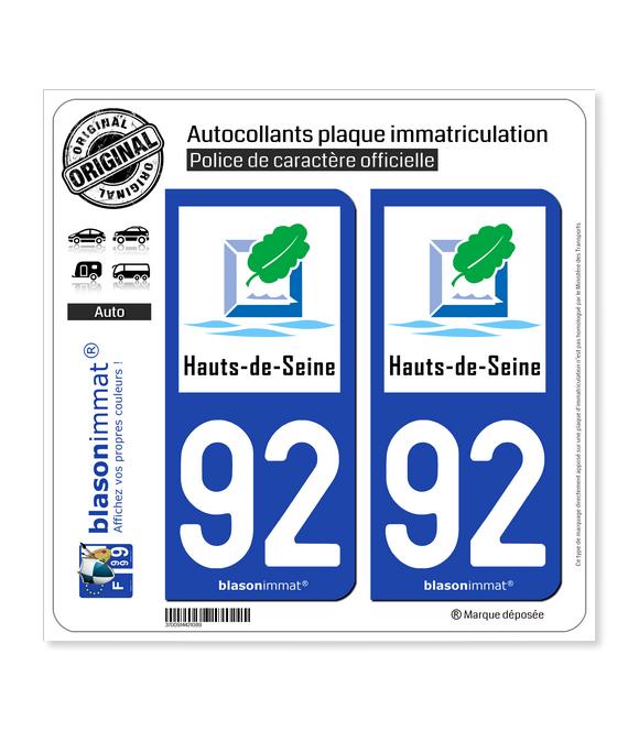 92 Hauts-de-Seine - Tourisme | Autocollant plaque immatriculation