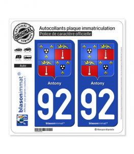 92 Antony - Armoiries | Autocollant plaque immatriculation