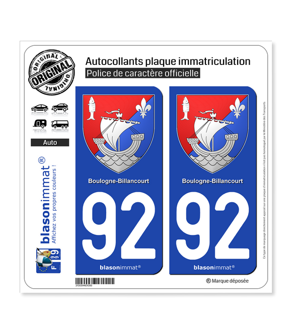 92 Boulogne-Billancourt - Armoiries | Autocollant plaque immatriculation