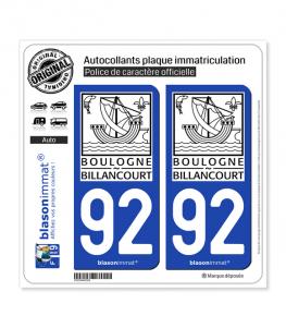 92 Boulogne-Billancourt - Ville II | Autocollant plaque immatriculation