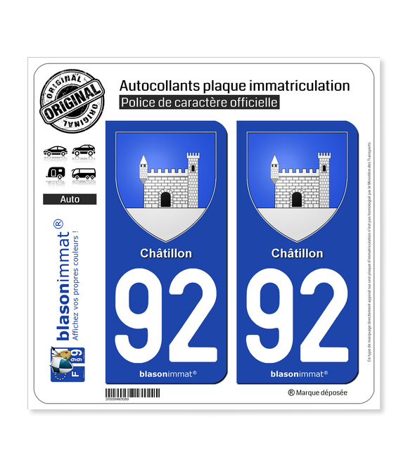 92 Châtillon - Armoiries | Autocollant plaque immatriculation