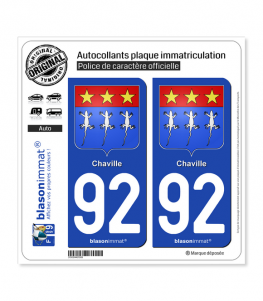 92 Chaville - Armoiries | Autocollant plaque immatriculation