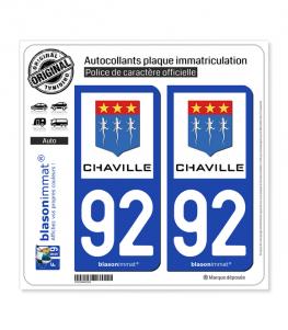 92 Chaville - Ville | Autocollant plaque immatriculation