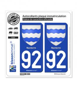 92 Nanterre - Armoiries | Autocollant plaque immatriculation