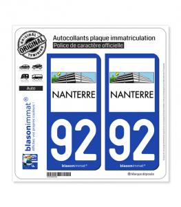 92 Nanterre - Ville | Autocollant plaque immatriculation