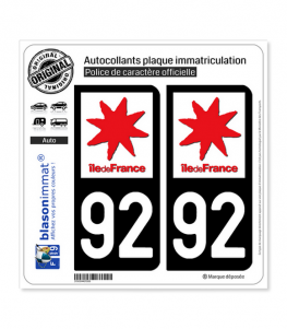 92 Ile-de-France - LogoType   Autocollant plaque immatriculation