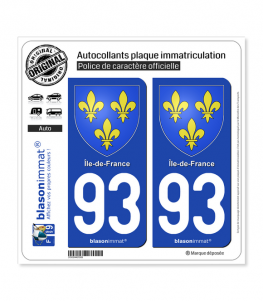 93 Ile-de-France - Armoiries | Autocollant plaque immatriculation