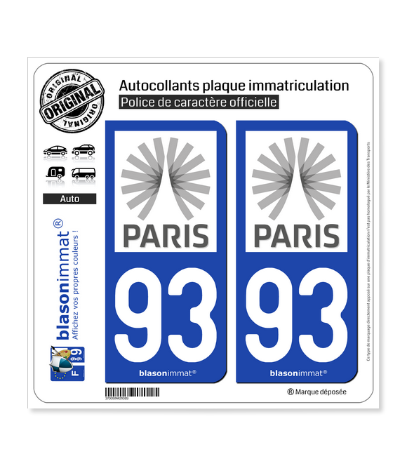 93 Ile-de-France - Tourisme | Autocollant plaque immatriculation