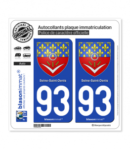 93 Seine-Saint-Denis - Armoiries | Autocollant plaque immatriculation