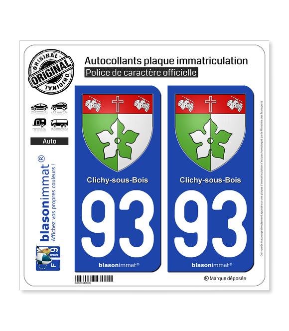 93 Clichy-sous-Bois - Armoiries | Autocollant plaque immatriculation