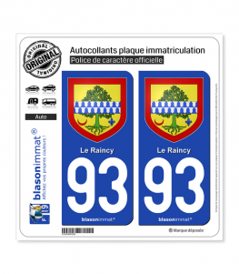 93 Raincy - Armoiries | Autocollant plaque immatriculation