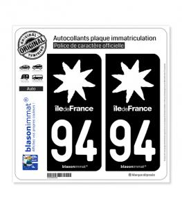 94 Ile-de-France- LogoType Black | Autocollant plaque immatriculation