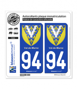 94 Val-de-Marne - Armoiries | Autocollant plaque immatriculation