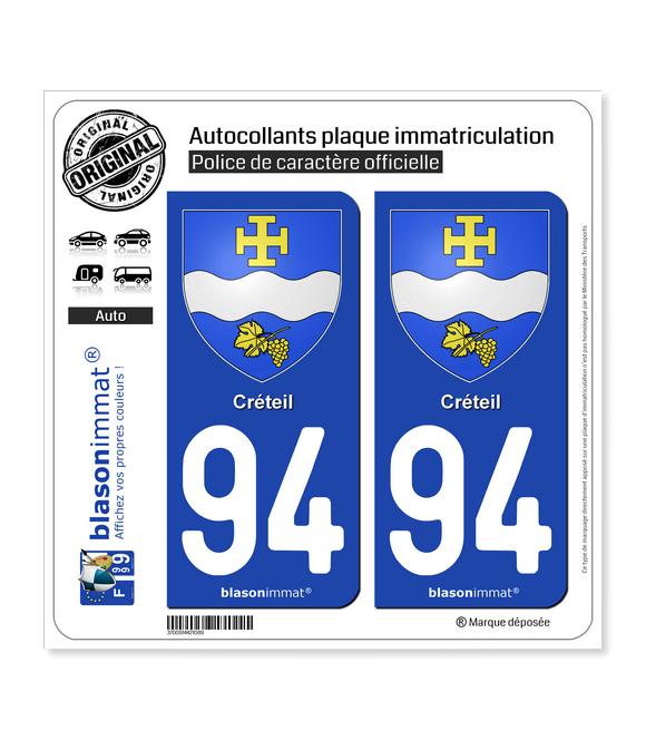 94 Créteil - Armoiries | Autocollant plaque immatriculation